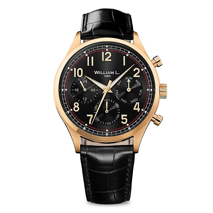 William L Vintage Calendar Men's Gold Plated Strap Watch - Product number 6050794