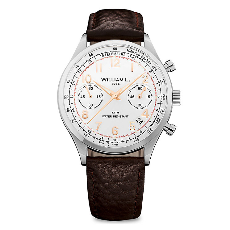 William L Vintage Chronograph Men's Leather Strap Watch - Product number 6050883
