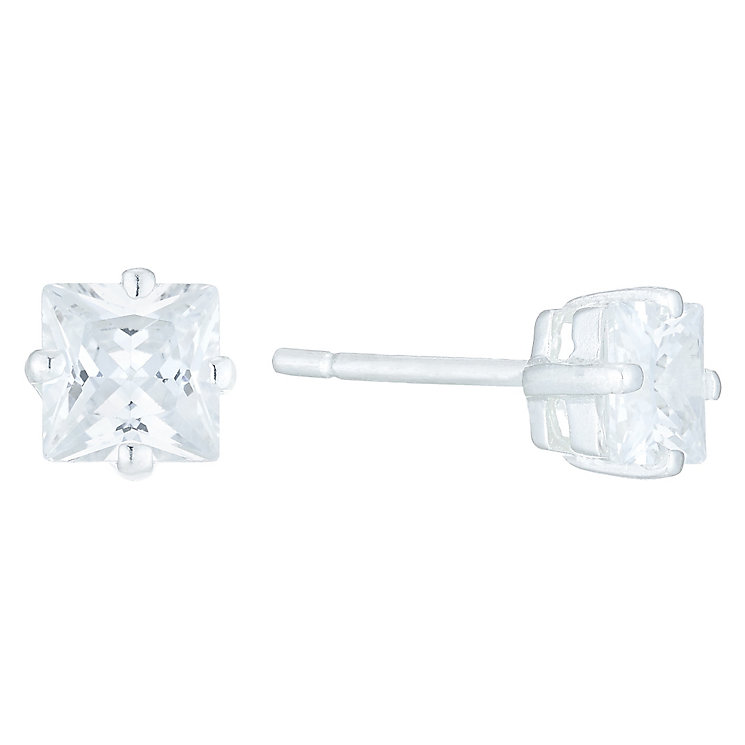 Sterling Silver White Cubic Zirconia Square Stud Earrings - Product number 6053599
