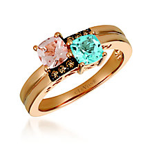 14ct Diamond, Peach Morganite™ and Ocean Blue Topaz™ - Product number 6054498
