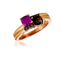 14ct Rose Gold Diamond, Quartz and Garnet Ring - Product number 6054684