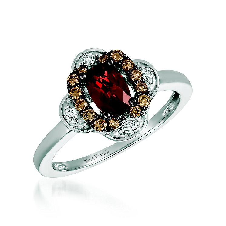 14ct Vanilla Gold 1/5ct Diamond Garnet Ring - Product number 6054811