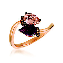 14ct Rose Gold Diamond, Morganite & Garnet Ring - Product number 6055125