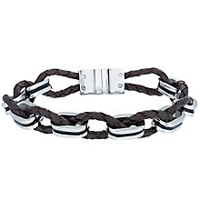 Men's Brown Leather and Stainless Steel Bracelet - Product number 6059139
