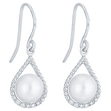 9ct White Gold Cultured Freshwater Pearl Diamond Earrings - Product number 6074898