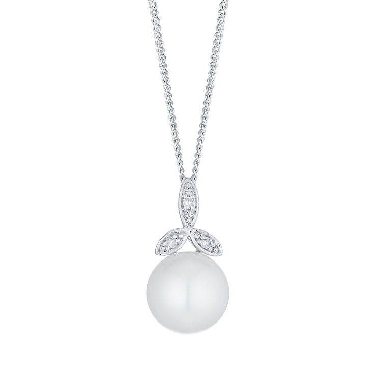 9ct White Gold Cultured Freshwater Pearl Diamond Pendant - Product number 6074995