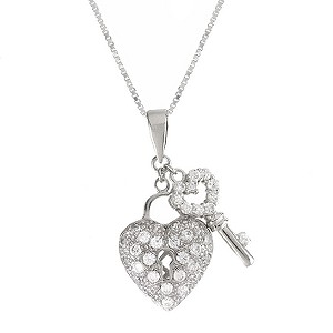 Silver Cubic Zirconia Heart And Key Pendant - Product number 6077609