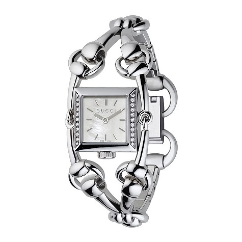 Gucci Signoria ladies' small mother of pearl diamond watch
