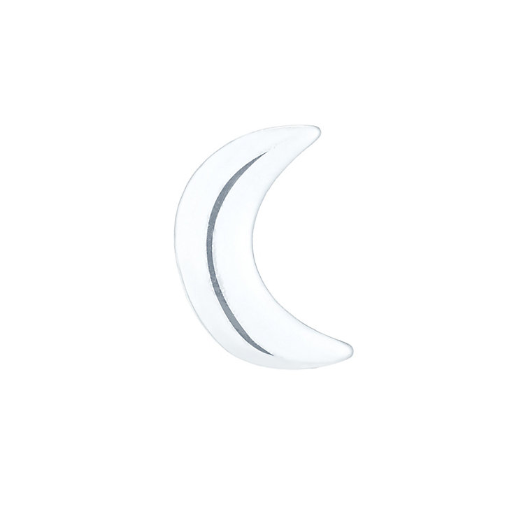 Sterling Silver Plain Moon Single Stud Earring - Product number 6081363