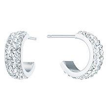 Sterling Silver Crystal Encrusted Half Hoop Earrings - Product number 6081428