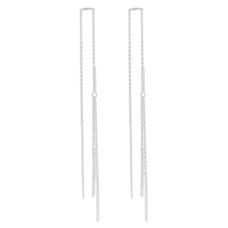 Sterling Silver Double Thread Through Style Earrings - Product number 6081487