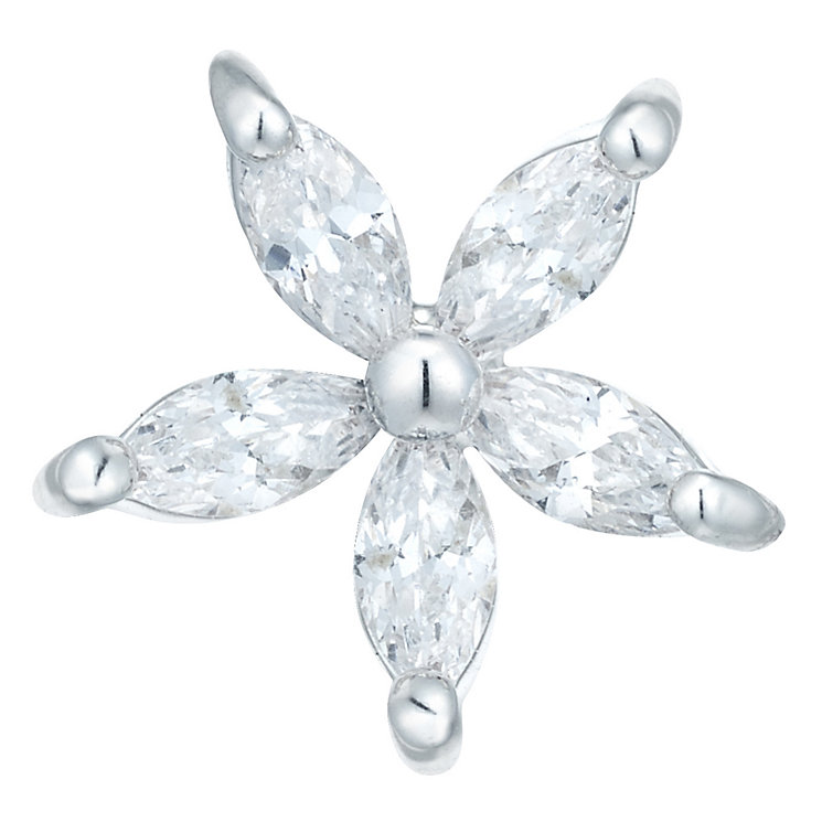 Sterling Silver Cubic Zirconia Flower Single Stud Earring - Product number 6081533