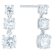 Silver Rhodium Plated 3 Cubic Zirconia Drop Earrings - Product number 6081711