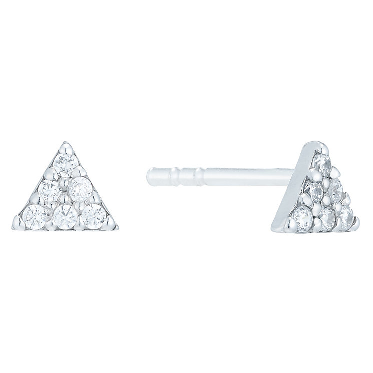 Sterling Silver Cubic Zirconia Triangle Stud Earrings - Product number 6081819