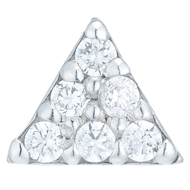 Sterling Silver Cubic Zirconia Triangle Single Stud Earring - Product number 6081835