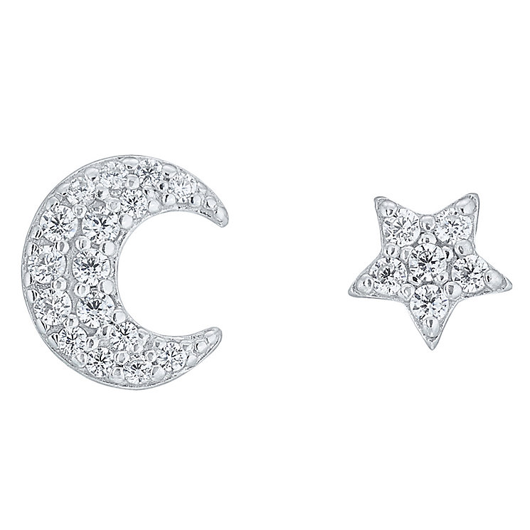 Sterling Silver Cubic Zirconia Moon & Star Stud Earrings - Product number 6081940
