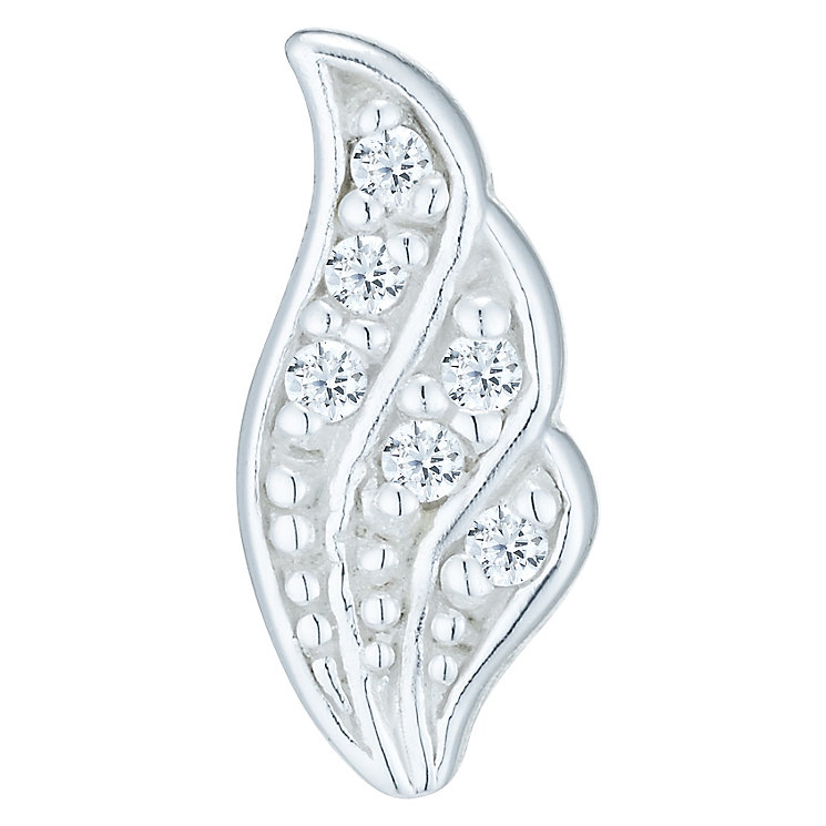 Sterling Silver Cubic Zirconia Set Leaf Single Stud Earring - Product number 6082343