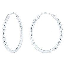 Sterling Silver Diamond Cut 27mm Hoop Earrings - Product number 6082874