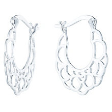 Sterling Silver Fancy Cut Out Creole Earrings - Product number 6082904
