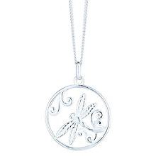 Sterling Silver Cut Out Dragonfly Round Pendant - Product number 6082971