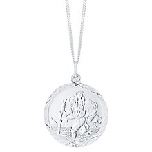 Sterling Silver Large Diamond Cut St Christopher Pendant - Product number 6083242