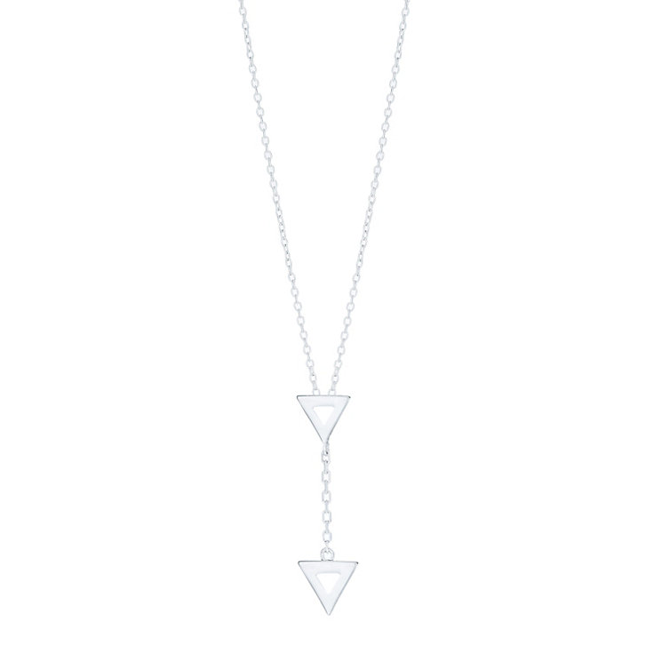 Sterling Silver Double Triangle Hanging Pendant - Product number 6083293