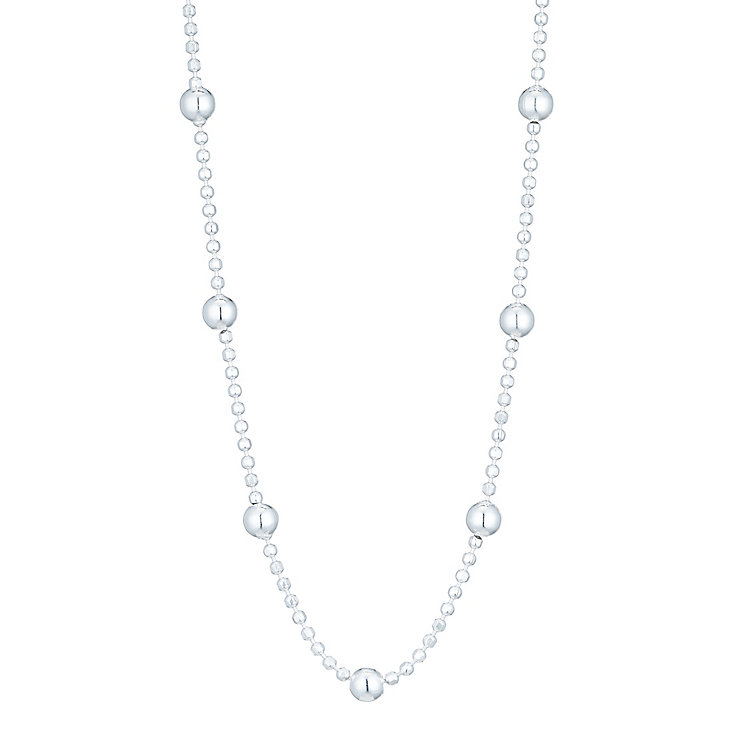 "Sterling Silver Ball Station 18"" Chain Necklace - Product number 6083331"
