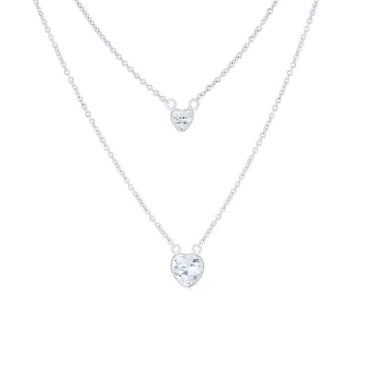 Sterling Silver Cubic Zirconia Double Heart Necklace - Product number 6083722