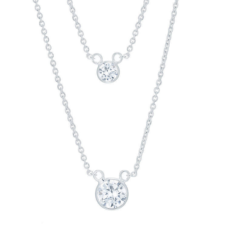 Sterling Silver Cubic Zirconia Double Solitaire Necklace - Product number 6083730
