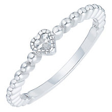 Sterling Silver Cubic Zirconia Heart Ring Size L - Product number 6084087