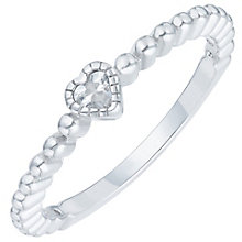 Sterling Silver Cubic Zirconia Heart Ring Size P - Product number 6084109