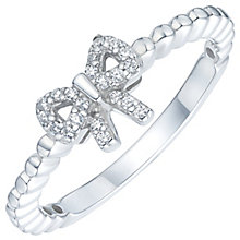 Sterling Silver Cubic Zirconia Bow Ring Size S - Product number 6084117