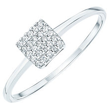 Sterling Silver Cubic Zirconia Pave Square Ring Size S - Product number 6084273