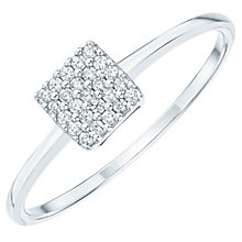 Sterling Silver Cubic Zirconia Pave Square Ring Size P - Product number 6084303