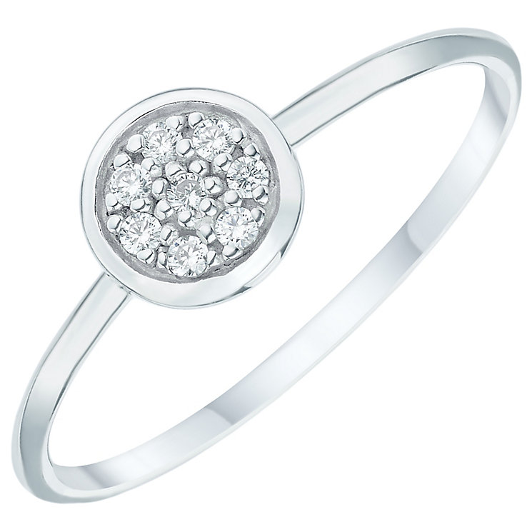 Sterling Silver Cubic Zirconia Pave Round Ring Size P - Product number 6084346