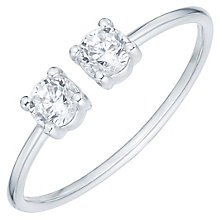 Sterling Silver Round Cubic Zirconia Set Open Ring Size P - Product number 6084370
