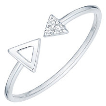 Sterling Silver Cubic Zirconia Set Arrow Open Ring Size S - Product number 6084389