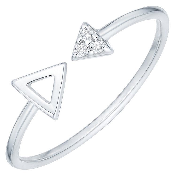 Sterling Silver Cubic Zirconia Set Arrow Open Ring Size P - Product number 6084400
