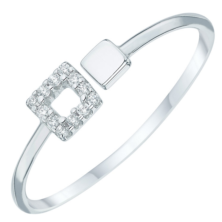 Sterling Silver Cubic Zirconia Set Square Open Ring Size L - Product number 6084699