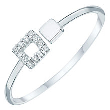 Sterling Silver Cubic Zirconia Set Square Open Ring Size N - Product number 6084702