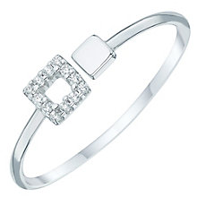 Sterling Silver Cubic Zirconia Set Square Open Ring Size P - Product number 6084710