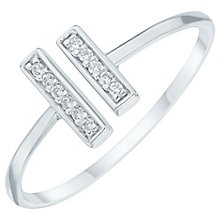Sterling Silver Cubic Zirconia Set Bars Open Ring Size P - Product number 6084745