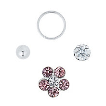 Sterling Silver Crystal Flower, Ball & Crystal Nose Stud Set - Product number 6084885