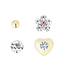 9ct Gold Heart, Flower, Crystal & Ball Nose Stud Set - Product number 6084893