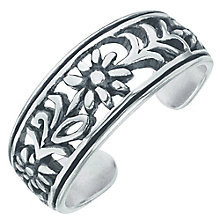 Sterling Silver Oxidised Flower Pattern Toe Ring - Product number 6084966