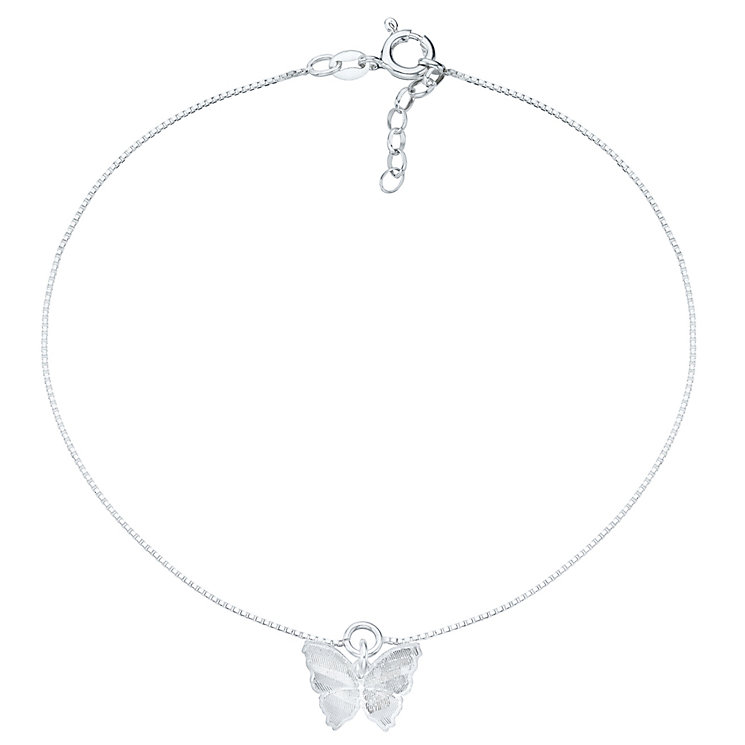 Sterling Silver Butterfly Anklet H Samuel