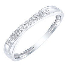 9ct White Gold Diamond Set Crossover Band - Product number 6085326
