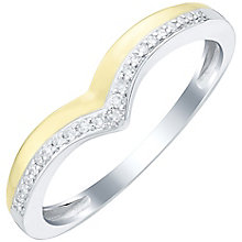 9ct Gold & White Gold Diamond Set Wishbone Shaped Band - Product number 6085458