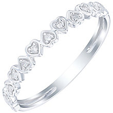 9ct White Gold Diamond Set Hearts Band - Product number 6085571