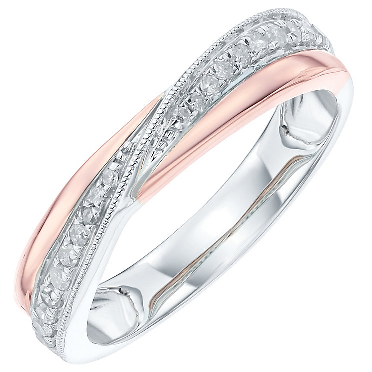 9ct White Gold & Rose Gold 0.16 Carat Diamond Crossover Band - Product number 6086012